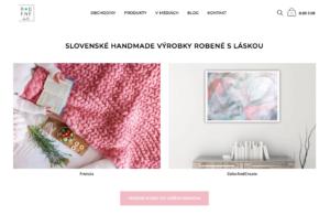 robene.sk domovská stránka s handmade produktami